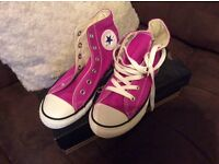 Converse uk youth size 1 purple/ pink new with box hi tops genuine item