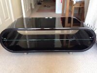 TECHLINK TV GLOSS BLACK STAND WITH GLASS SHELF (EXCELLENT CONDITION)