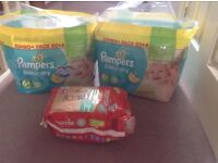 2 x packs of Pampers 6+ nappies and one pack mamia (see description)