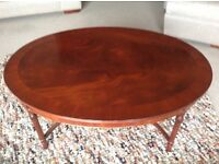 MAHOGANY FINE FURNITURE QUALITY OVAL COFFEE TABLE, ONE OF A PAIR