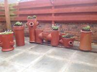 Vintage terracotta chimney pots