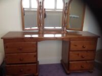 Wooden dresssing table and mirror