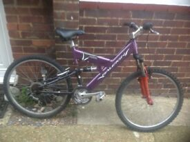 Ladies Aluminium Raleigh Dual Suspension mountain bike 18 sp