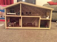 1970 Lundby Dolls House with furniture