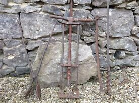 Large Vintage solid Cast Iron farming implements. Really unusual pieces /Decorative gardenware
