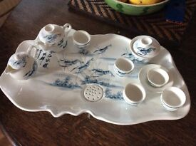 Chinese China Tea Set with draining tray