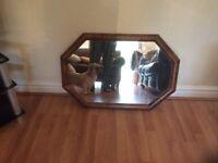 Wooden mirror hexagon shape