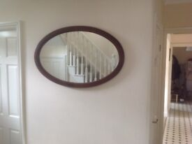 Large Oval Mahogany mirror can be hung either way 39ins x 24ins