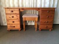 SOLID PINE 8 DRAWER KNEEHOLE DRESSING TABLE WITH STOOL / EIGHT DRAWER PINE DESK