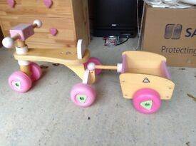 Wooden sit and ride 'trike'