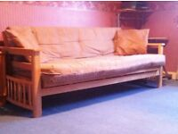 Solid Pine Double Futon Sofa-Bed