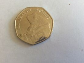 Rare MR JEREMY FISHER 50p coin. Used, excellent condition