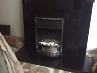 GORGEOUS BLACK MARBLE FIREPLACE WITH WORKIMG FIRE