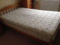 Small double 4ft Pine Bed with Ortho Slumber Mattress excellent condition used occasionally..
