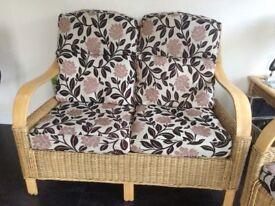 sofa, 2 chairs & foot stool