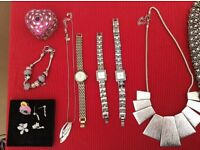 Ladies fashion jewellery some matching sets, includes necklaces, earrings, bracelets, rings, watches