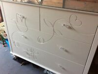 """Large set of white drawers. 54""""wide, 20"""" depth, 42"""" high. Glass on top, perfect condition."""