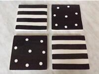 Set of Whittards tiled coasters x 4 polka & stripe black and cream Can post £4 boxed