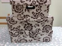 3 IKEA strong cardboard Storage Boxes with lids: White with brown floral design. £2 each £5 for 3