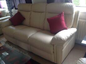 Cream coloured 3 + 1 high back leather sofa set