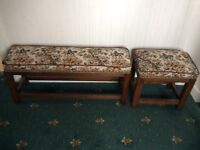 Two Tapestry Upholstered Stools. Solid Oak, Tapestry depicting a riding in the Country Scene