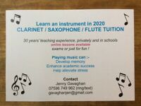 ONLINE CLARINET, SAXOPHONE AND FLUTE TUITION