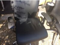 Matching leather look fully adjustable swivel chairs