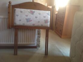 Pine single bed size headboard with fabric inset