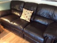 Two Harveys Brown Leather Reclning Sofas