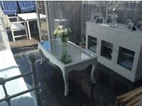 Shabby Chic glass and wood coffee table painted white