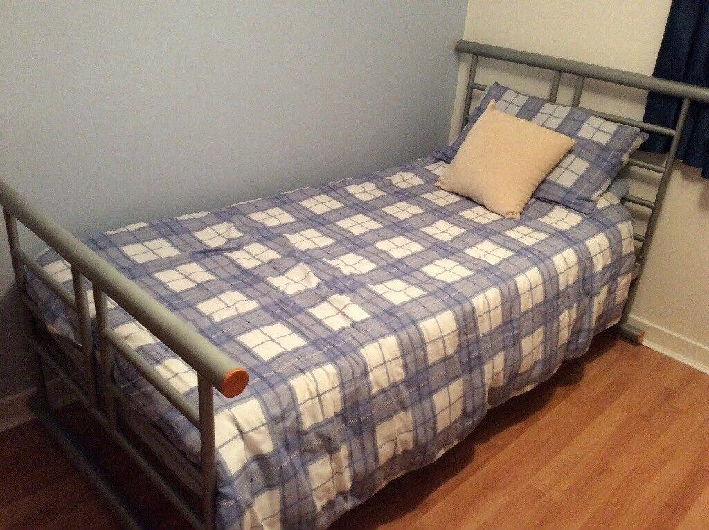 Metal framed 3 ft single bed