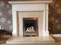 Living Flame Gas Fire with Wood Surround and Marble Hearth