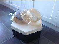 2 Wedding Hats and Hat Box Excellent Condition