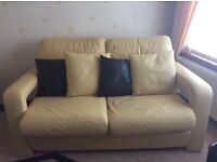 3 and 2 leather sofa, footstool and cushions