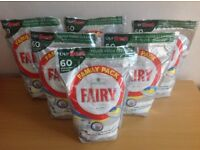 Fairy Platinum all in one dishwasher tablets - Lemon (x6 Family Packs of 60 tablets each)