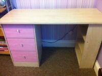 Argos pink kids/ girls desk