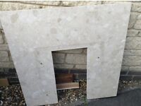 Free- cream marble effect fireplace back panel