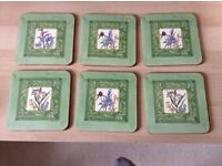 6 luxury brand new floral coasters in original Harrods box- A great gift at pocket money price!