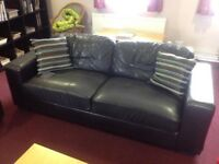 Free Large Brown Leatherette Sofa with scuff