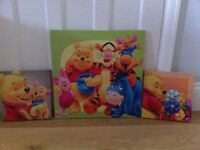 Winnie the Pooh pictures. 3 canvas pictures sold as a set