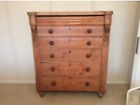 Old pine chest of drawers, storage