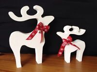 christmas star gazing reindeer decorations mother and baby white stipple silver bells snow ribbon