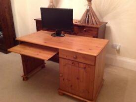 Pine desk with keyboard drawer