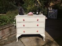 Chest of Drawers, Shabby Chic, newly refurbished, antique white.