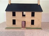 Wooden toy house and Sylvanian Families furniture