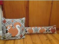 Squirrel matching cushion and draught excluder