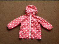 Evie Angel girls Age 2 yrs peach and white dot lightweight jacket