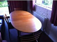 Solid Teak Dining Table + 5 Chairs