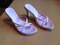 Barratts pink/cork high heel sandals uk size 7