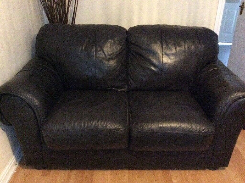 Barker and stone house two seater leather brown settee in good condition